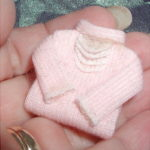 Pink folded sweater - turtleneck lace