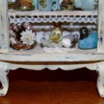 Shabby Chic display armoire top detail